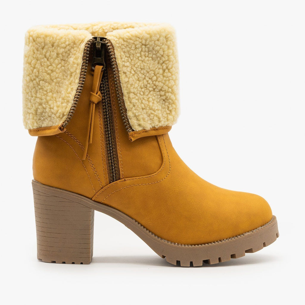 Womens Sherpa Cuff Chunky Heel Booties - Forever - Camel / 5