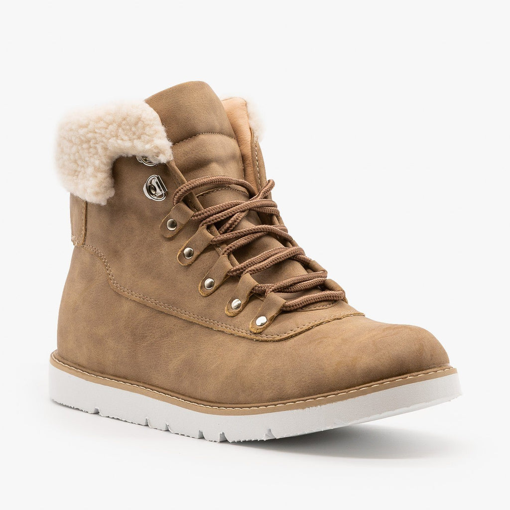 Womens Sherpa Cuff Winter Boots - Chase & Chloe - Taupe / 5