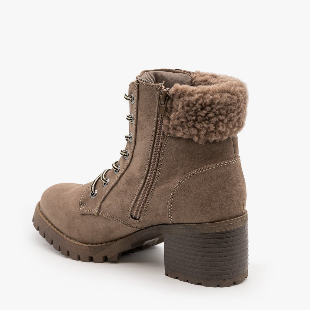 Womens Sherpa Cuffed Ankle Booties - Bamboo