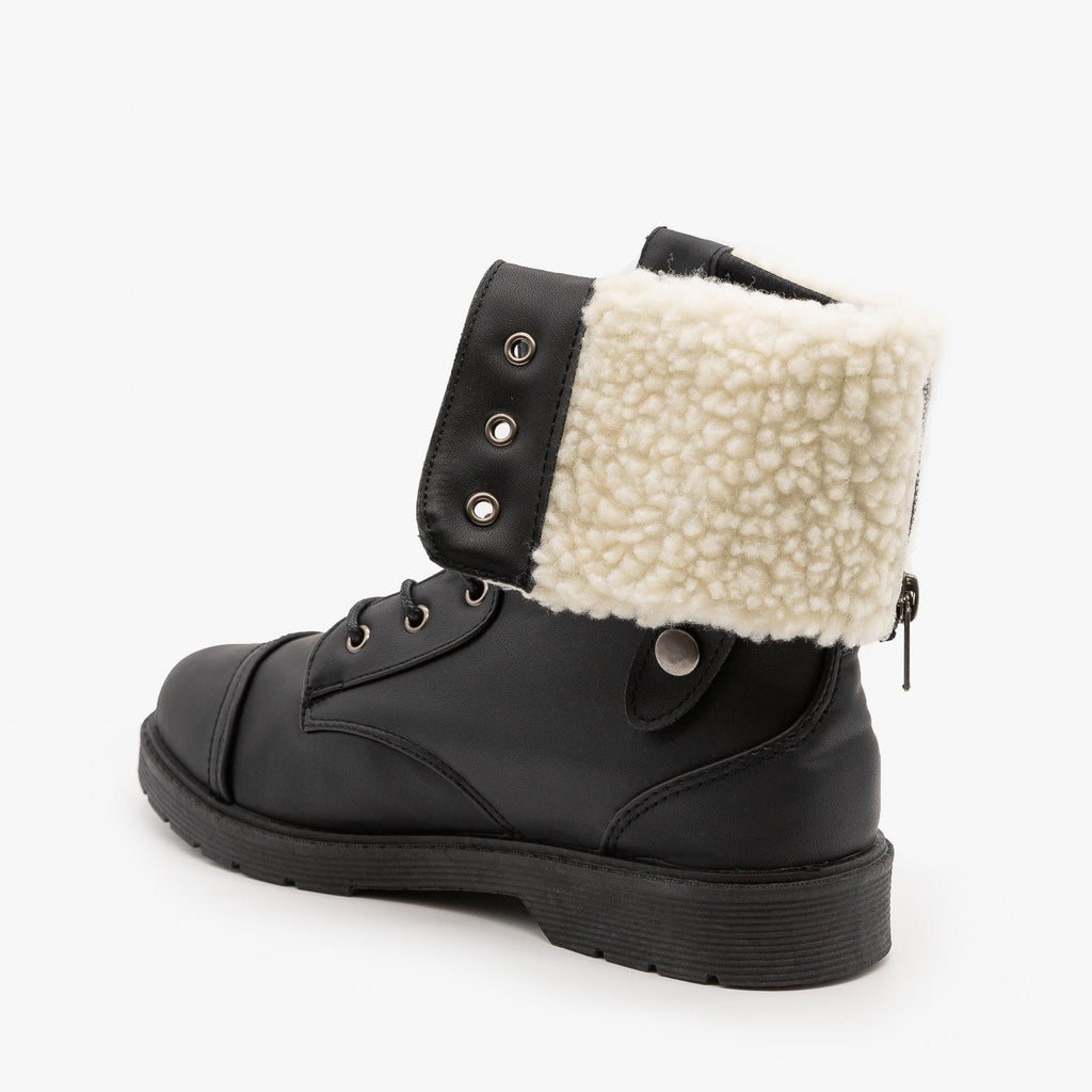 Womens Sherpa Cuffed Combat Boots - Weeboo