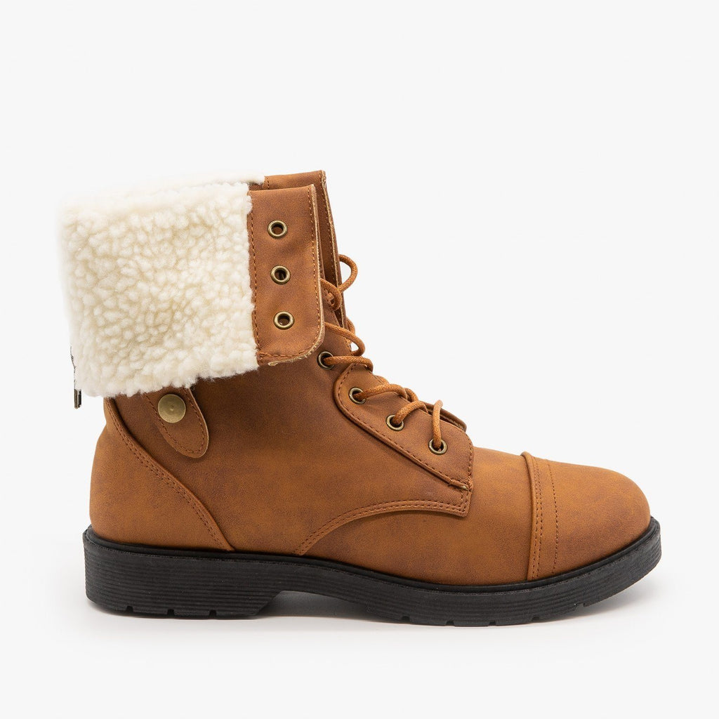 Womens Sherpa Cuffed Combat Boots - Weeboo - Cognac / 5