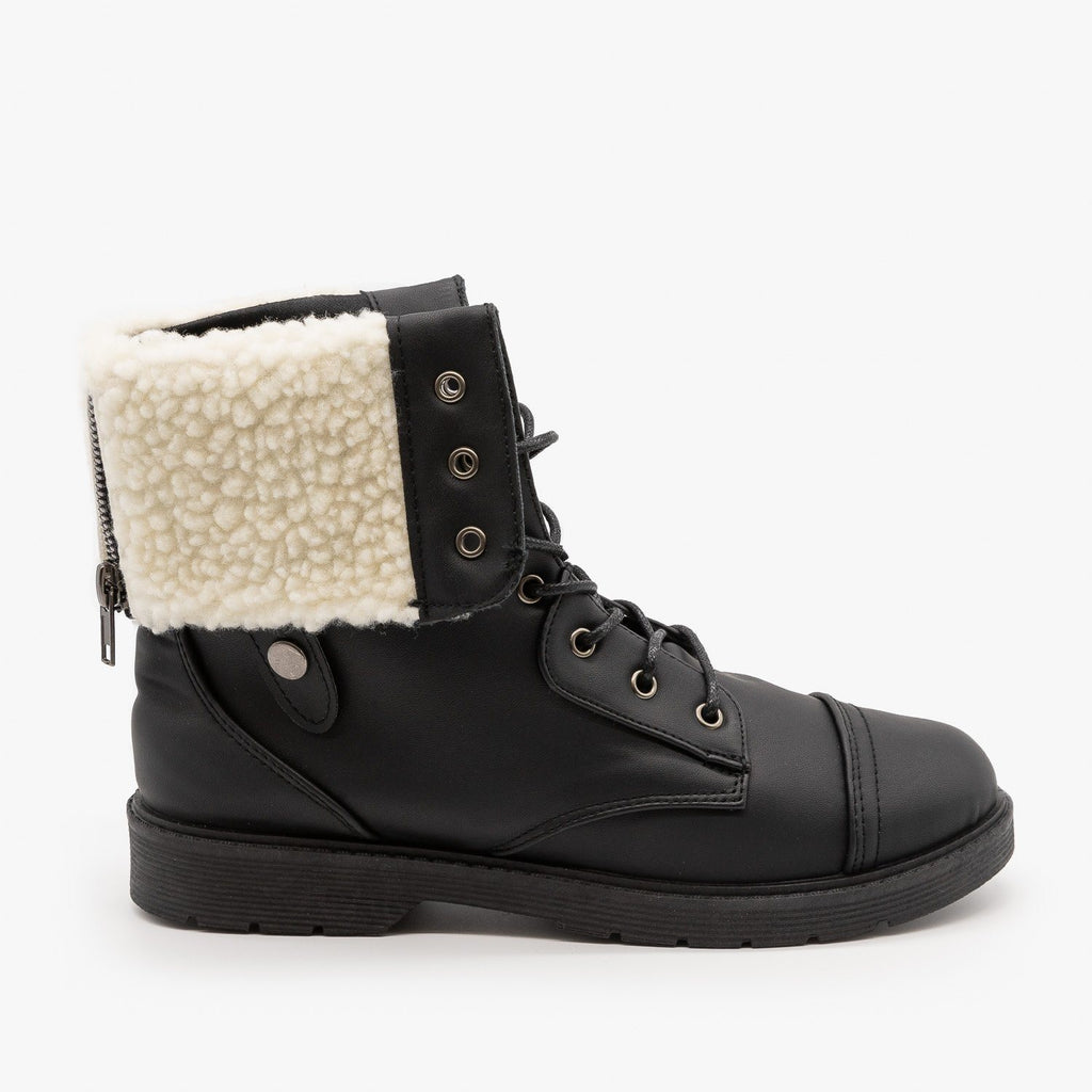 Womens Sherpa Cuffed Combat Boots - Weeboo - Black / 5