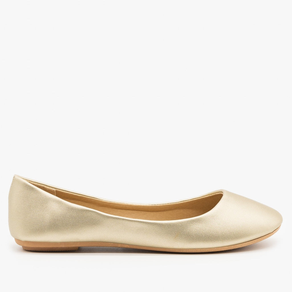Womens Shimmery Metallic Ballet Flats - Refresh - Champagne / 5