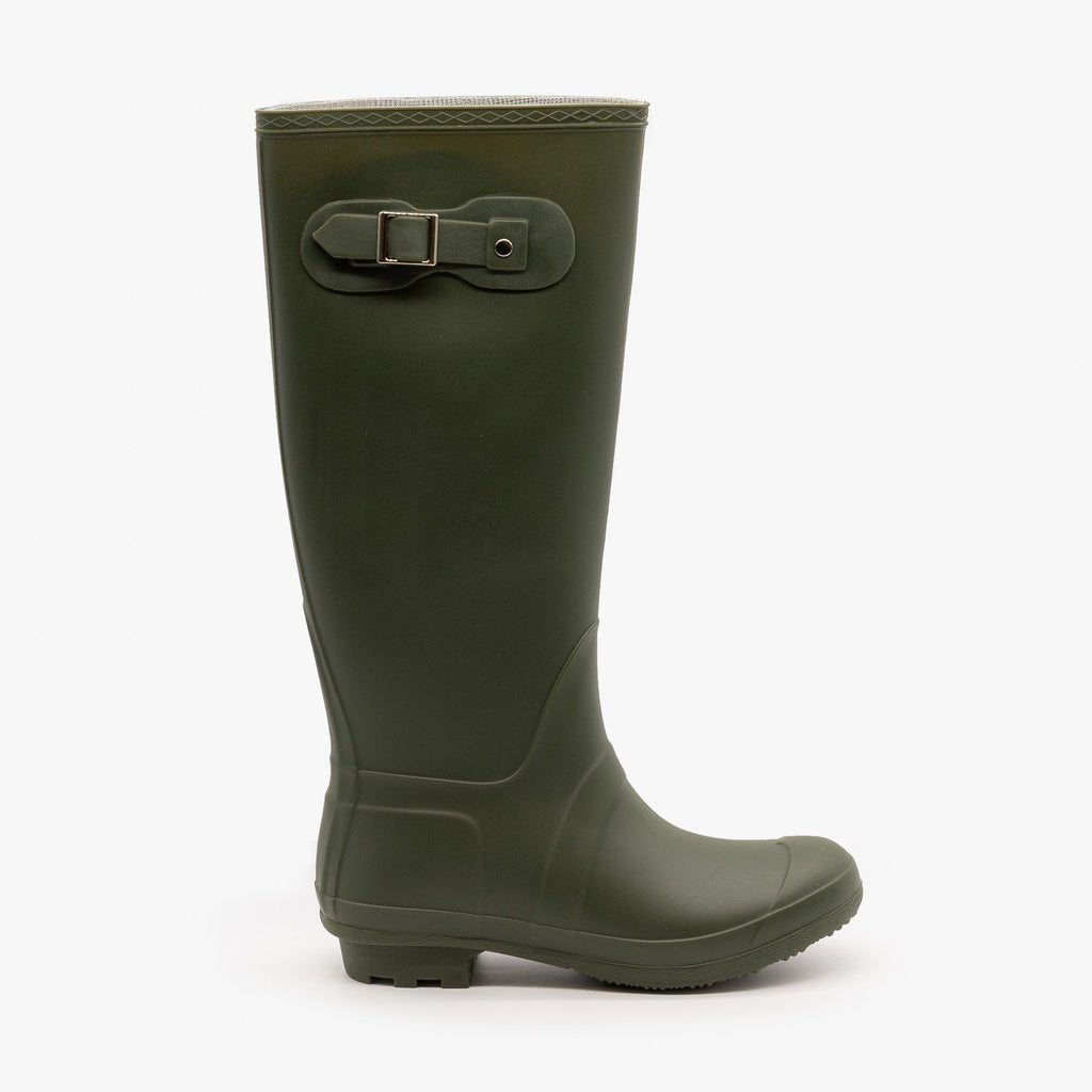 Womens Side Buckle Rain Boots - Forever - Olive / 5