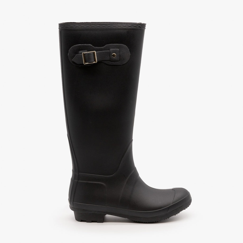 Womens Side Buckle Rain Boots - Forever - Black / 5