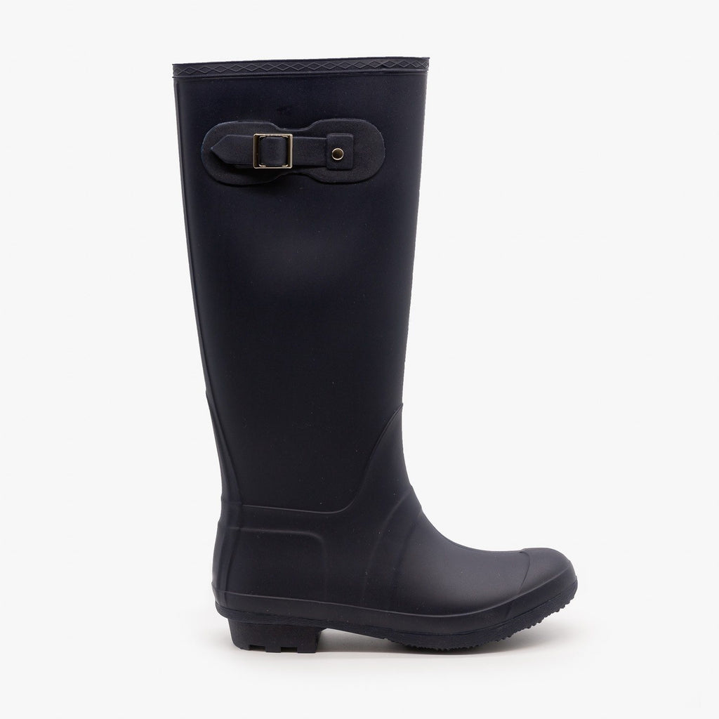 Womens Side Buckle Rain Boots - Forever - Navy / 5
