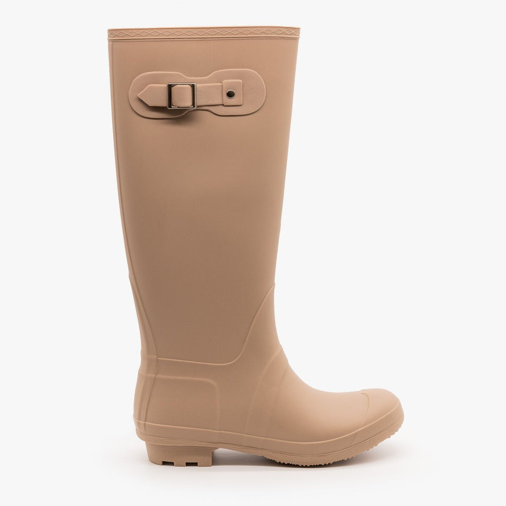 Womens Side Buckle Rain Boots - Forever - Nude / 5