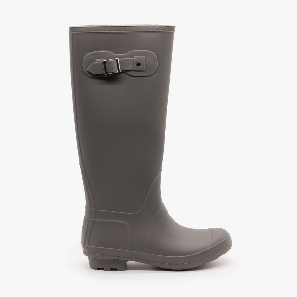 Womens Side Buckle Rain Boots - Forever - Gray / 5
