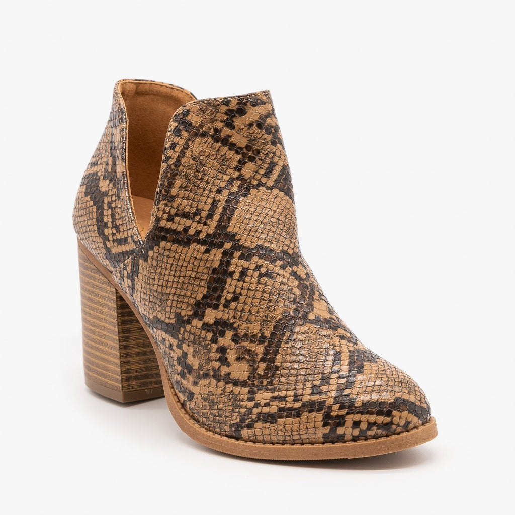 Womens Side Cut Animal Print Booties - Mata - Snake / 5
