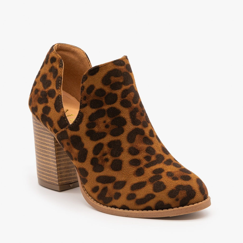 Womens Side Cut Animal Print Booties - Mata - Leopard / 5