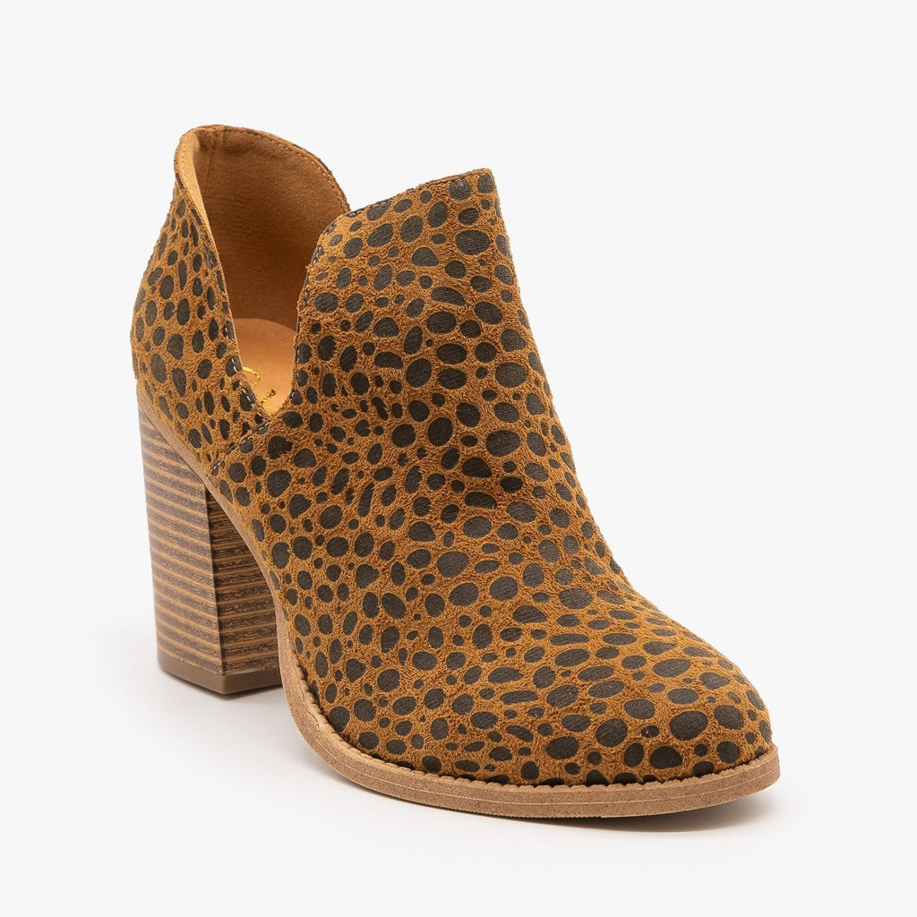 Womens Side Cut Animal Print Booties - Mata - Cheetah / 5