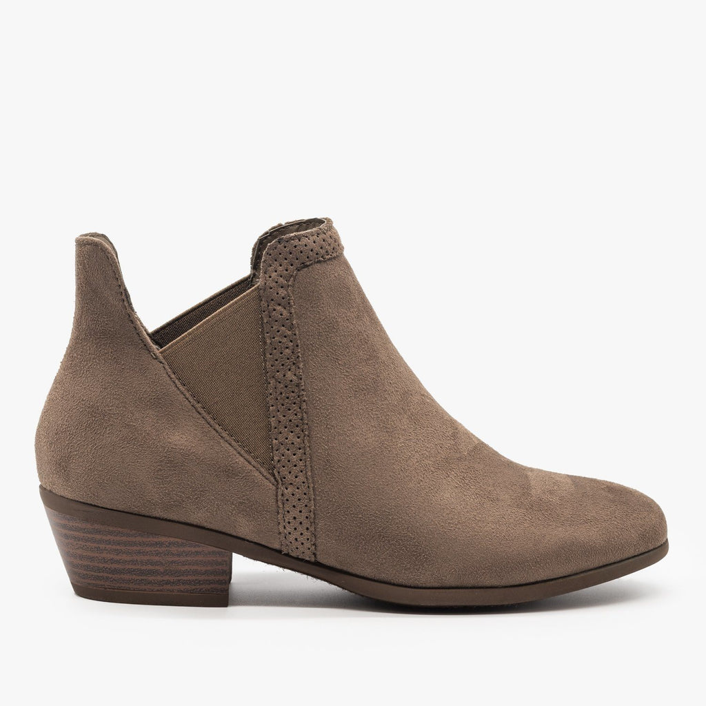 Womens Side Cut Ankle Booties - Refresh - Mocha / 5