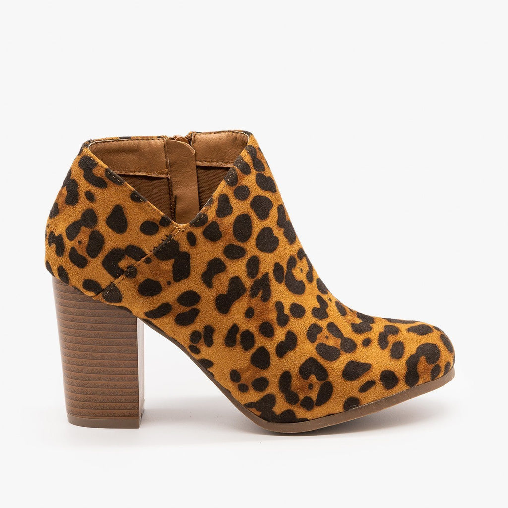 Womens Side Cut Ankle Booties - Refresh - Leopard / 5