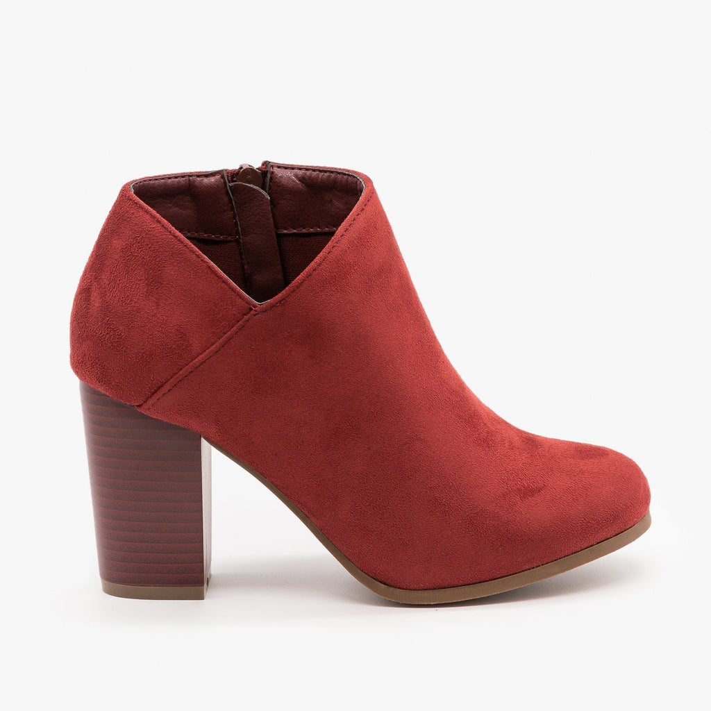 Womens Side Cut Ankle Booties - Refresh - Wine / 5