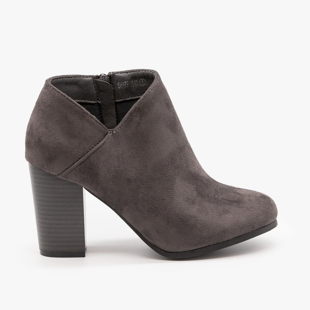 Womens Side Cut Ankle Booties - Refresh - Charcoal / 5