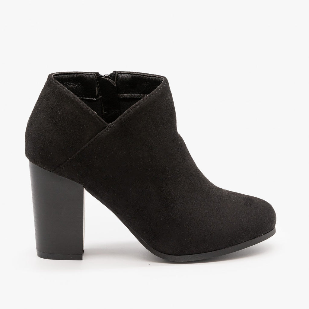 Womens Side Cut Ankle Booties - Refresh - Black / 5
