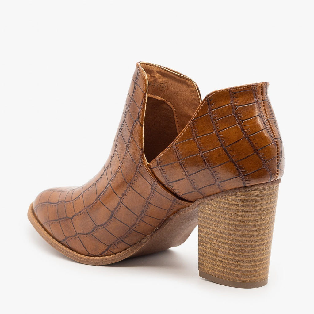 Womens Side Cut Crocodile Print Booties - Mata