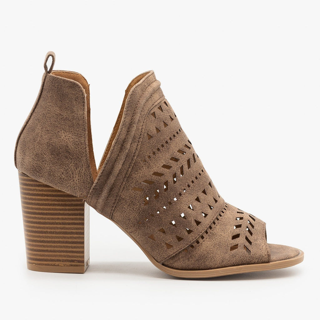 Womens Side Cut Geometric Design Booties - Qupid Shoes - Nutmeg / 5