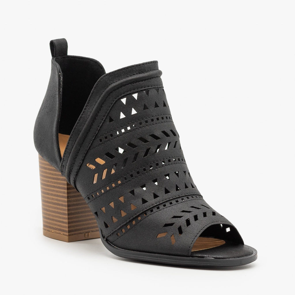 Womens Side Cut Geometric Design Booties - Qupid Shoes