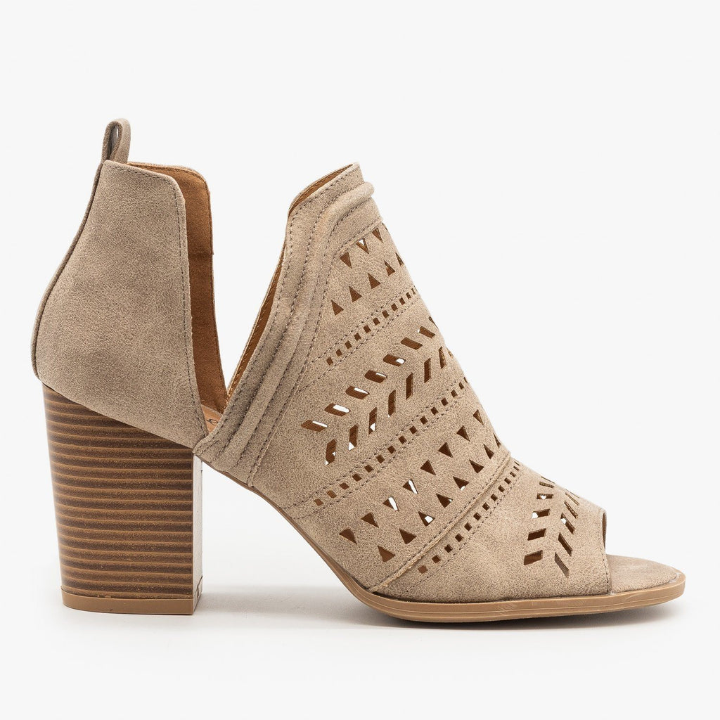 Womens Side Cut Geometric Design Booties - Qupid Shoes - Taupe / 5