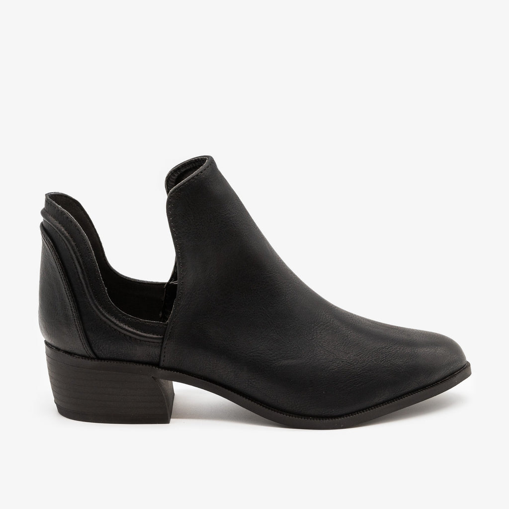 Womens Side Cut-Out Ankle Booties - Qupid Shoes - Black / 5