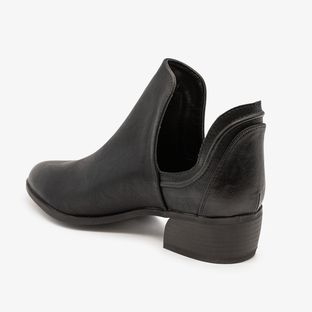Womens Side Cut-Out Ankle Booties - Qupid Shoes