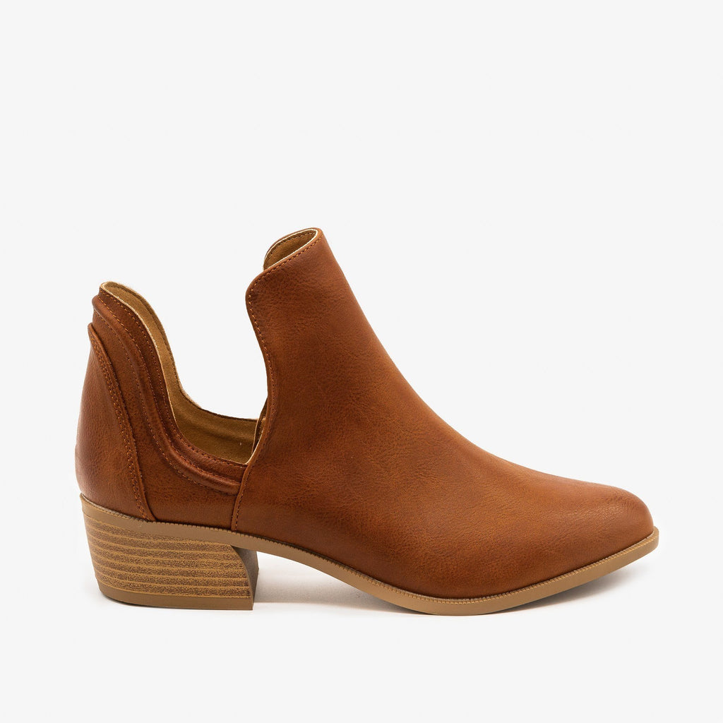 Womens Side Cut-Out Ankle Booties - Qupid Shoes - Cognac / 5