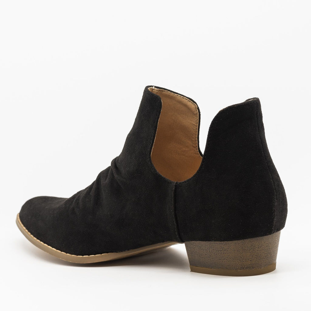 Womens Side Cut-Out Studded Booties - AMS Shoes