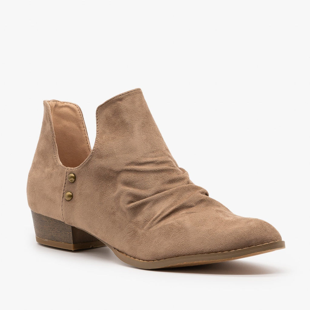 Womens Side Cut-Out Studded Booties - AMS Shoes - Taupe / 5