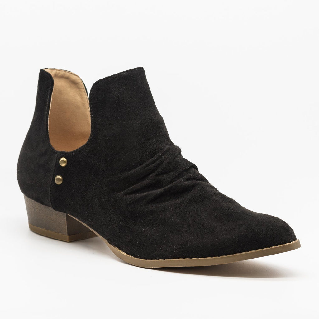 Womens Side Cut-Out Studded Booties - AMS Shoes - Black / 5