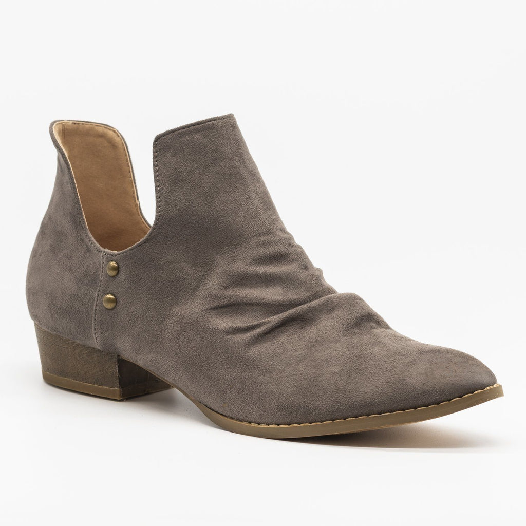 Womens Side Cut-Out Studded Booties - AMS Shoes - Gray / 5