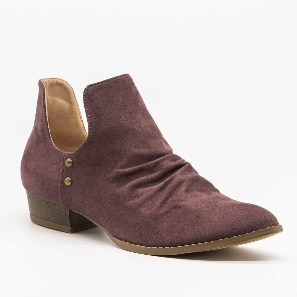 Womens Side Cut-Out Studded Booties - AMS Shoes - Lilac / 5
