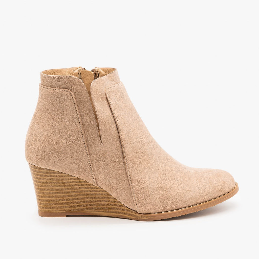 Womens Side Cut Wedges - Forever - Taupe / 5