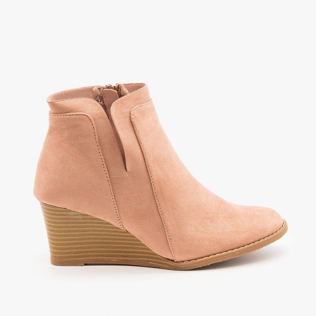 Womens Side Cut Wedges - Forever - Dusty Pink / 5