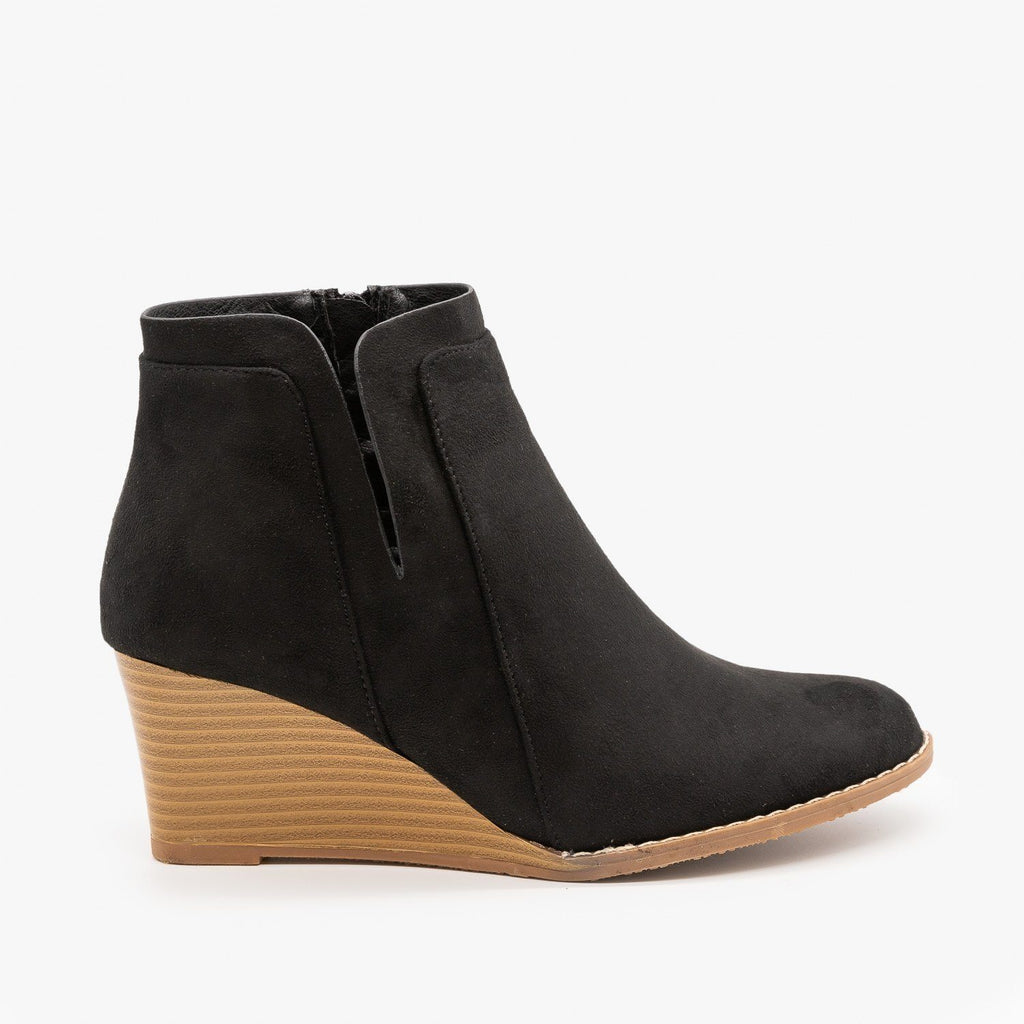 Womens Side Cut Wedges - Forever - Black / 5