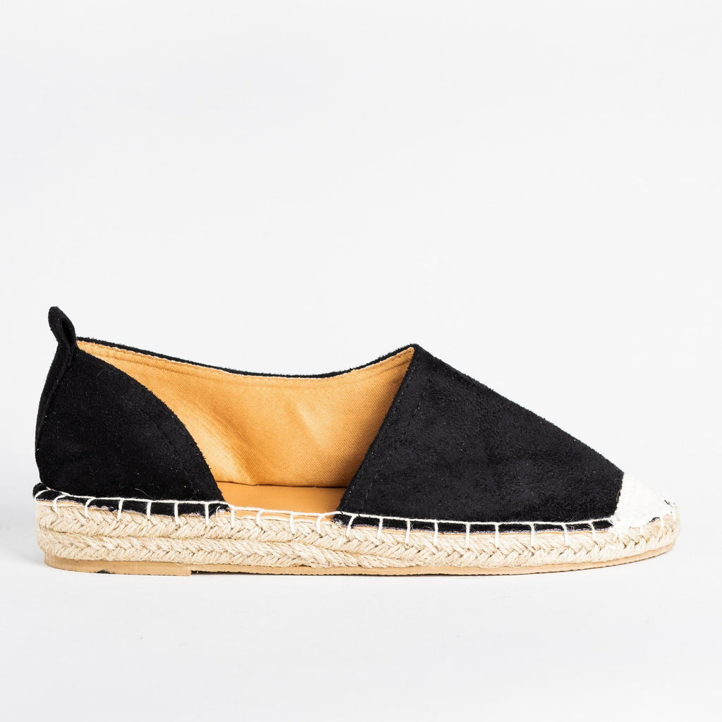 Womens Side Cutout Espadrille Flats - Qupid Shoes - Black / 5