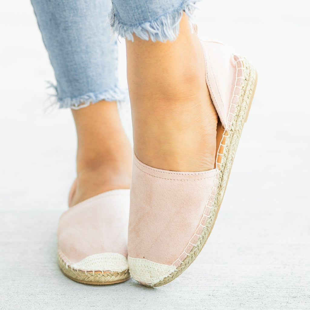 Womens Side Cutout Espadrille Flats - Qupid Shoes