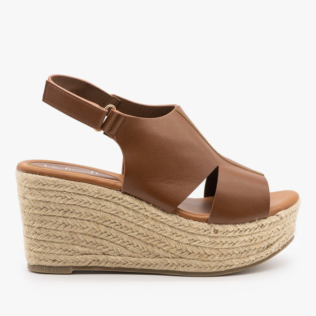 Womens Side Cutout Espadrille Wedges - Refresh - Tan / 5