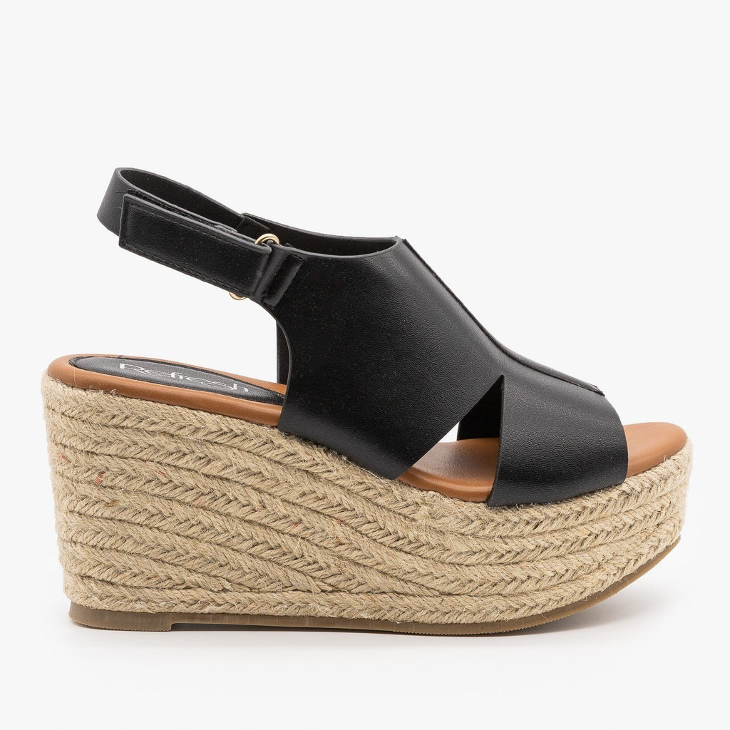 Womens Side Cutout Espadrille Wedges - Refresh - Black / 5