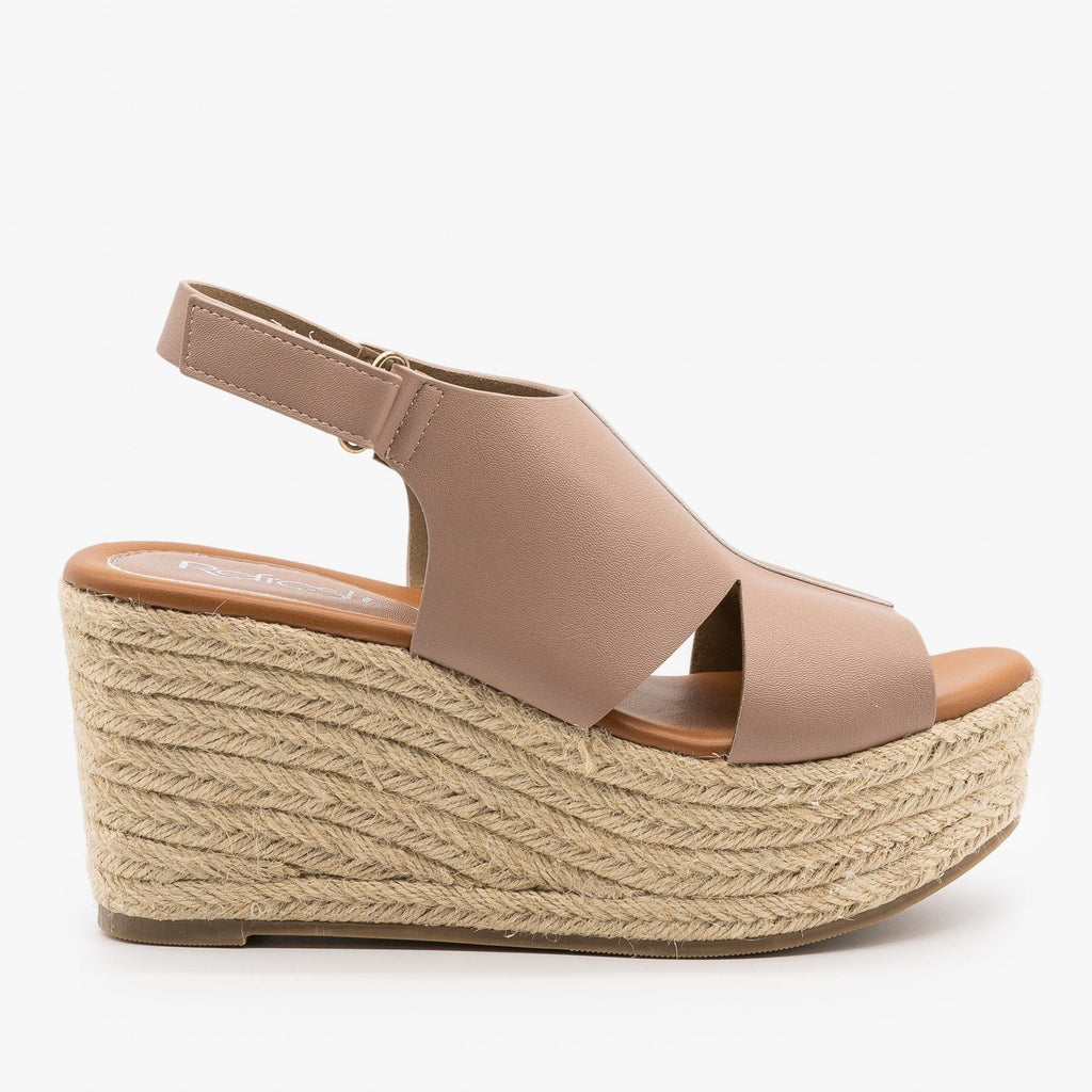 Womens Side Cutout Espadrille Wedges - Refresh - Taupe / 5