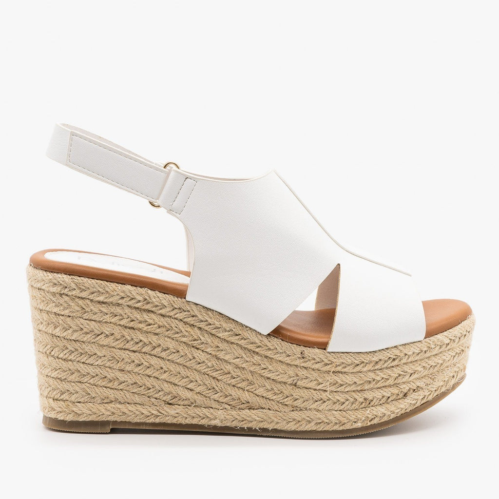 Womens Side Cutout Espadrille Wedges - Refresh - White / 5
