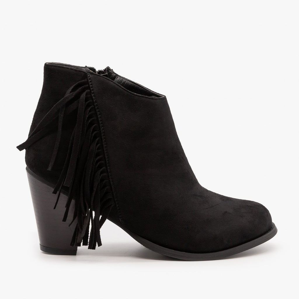 Womens Side Fringe Heeled Booties - Pierre Dumas - Black / 5