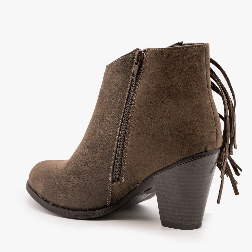 Womens Side Fringe Heeled Booties - Pierre Dumas
