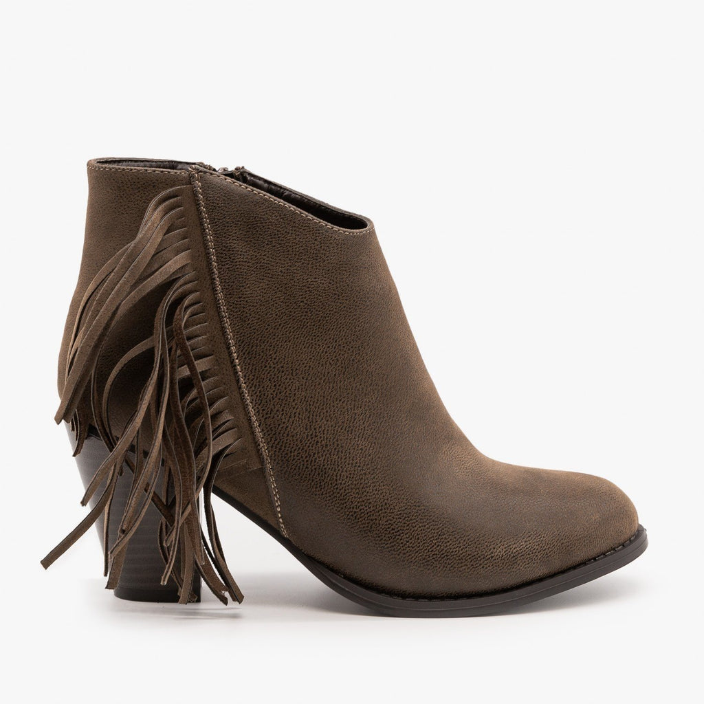 Womens Side Fringe Heeled Booties - Pierre Dumas - Brown / 5