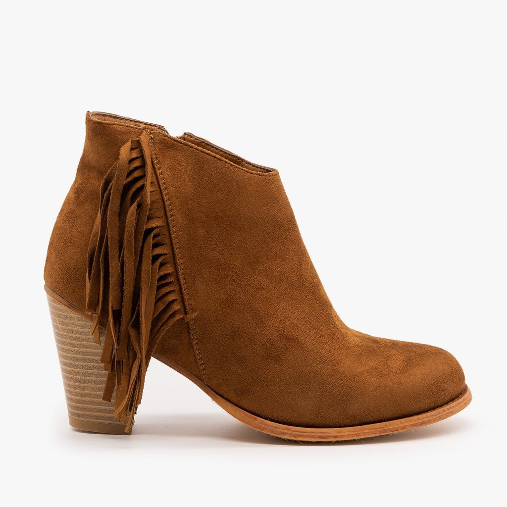 Womens Side Fringe Heeled Booties - Pierre Dumas - New Tan / 5