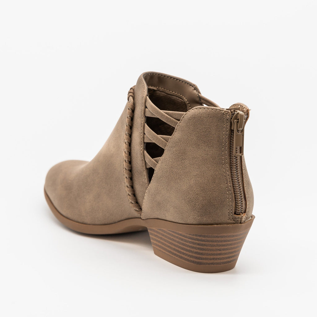 Womens Side-Laced Almond-Toe Ankle Booties - Soda Shoes