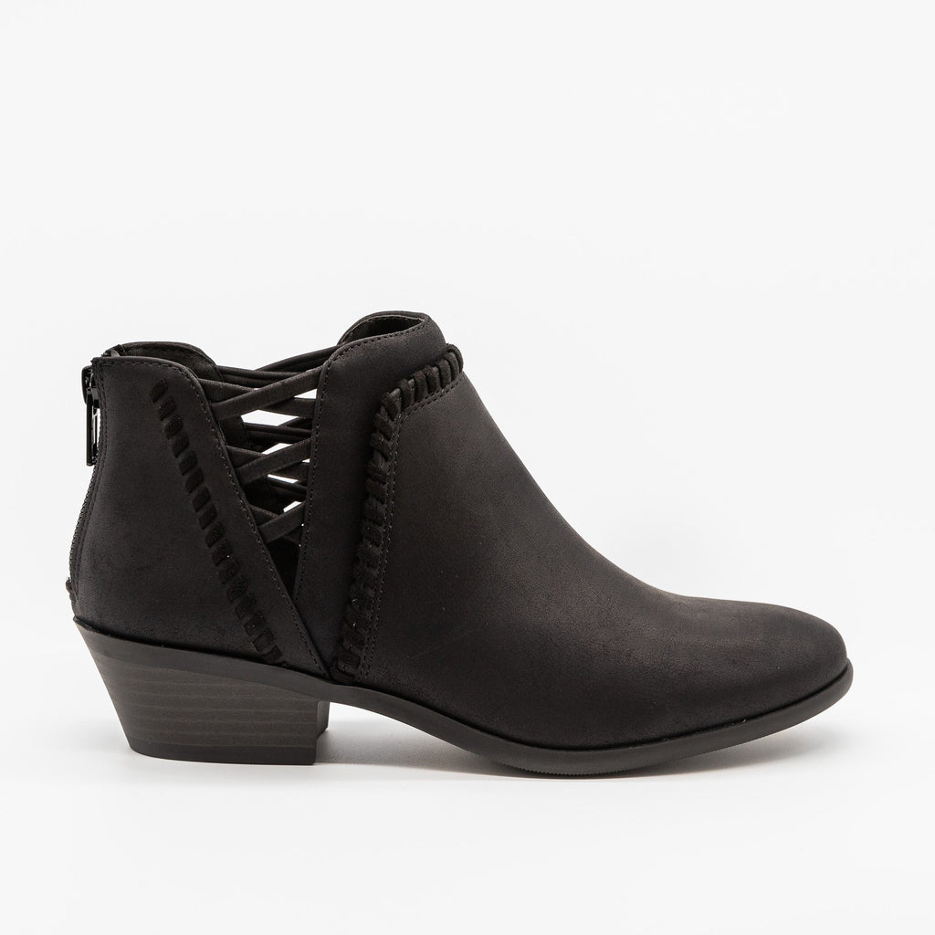 Womens Side-Laced Almond-Toe Ankle Booties - Soda Shoes - Black / 5
