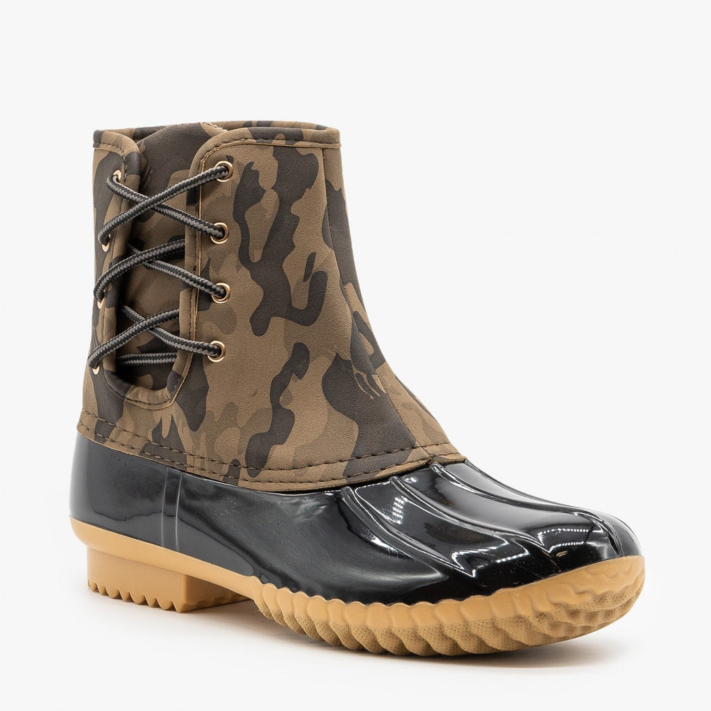 Womens Side Laced Camo Duck Boots - Nature Breeze