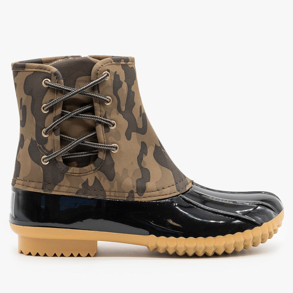 Womens Side Laced Camo Duck Boots - Nature Breeze - Camouflage / 5