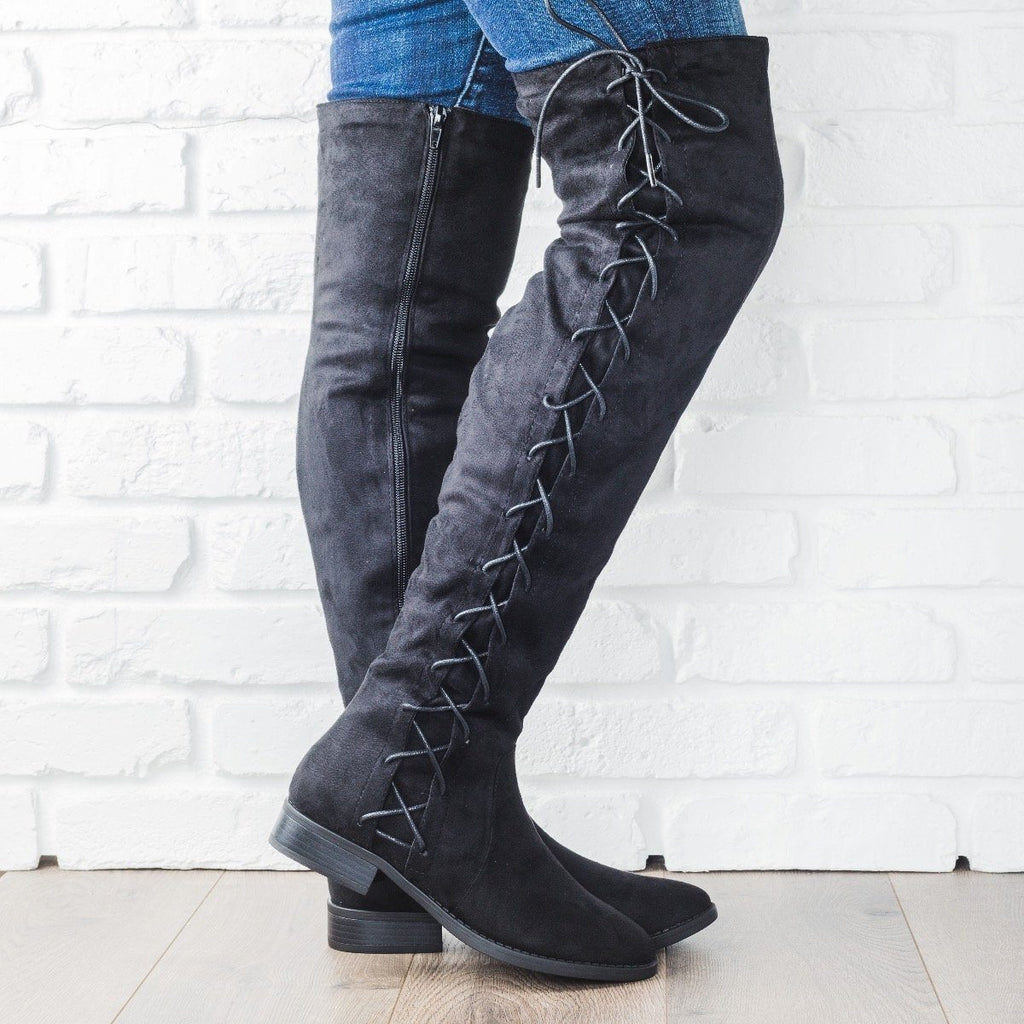 Womens Side Laced Over-the-Knee Boots - Bella Marie - Black / 7.5